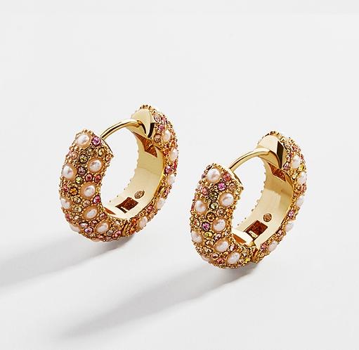 Lory Pavé Pearl and Rhinestone Earrings