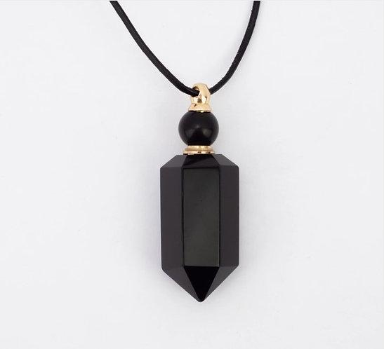 Zengo Black Stone Vial Necklace Obsidian
