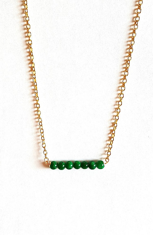 Emerald Green Bead Bar Necklace by Brandyinthesky