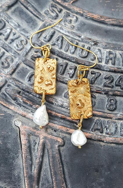 Joy Floral Artisan Earrings with Pearl