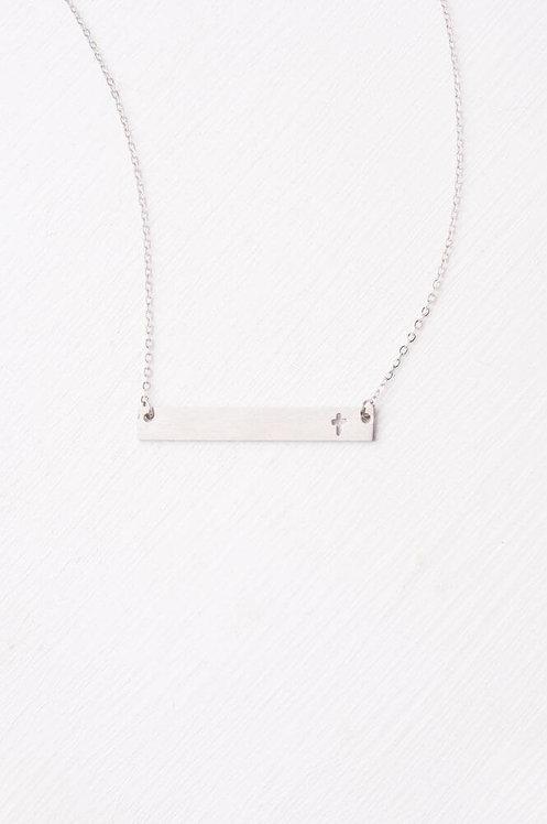 Layla Silver Cross Bar Necklace