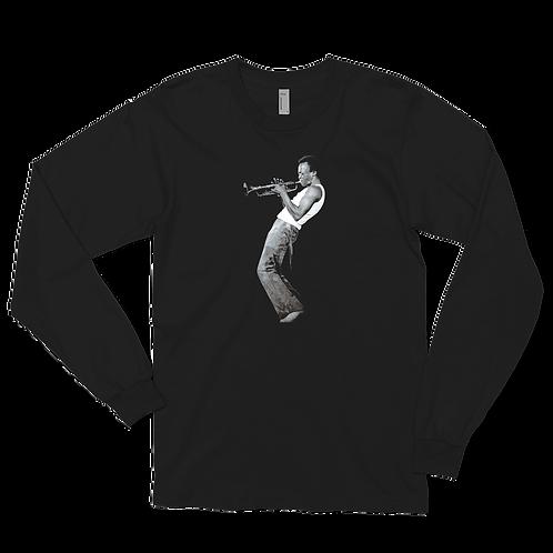 Miles Davis Playing His Trumpet Artwork Long Sleeve Shirt