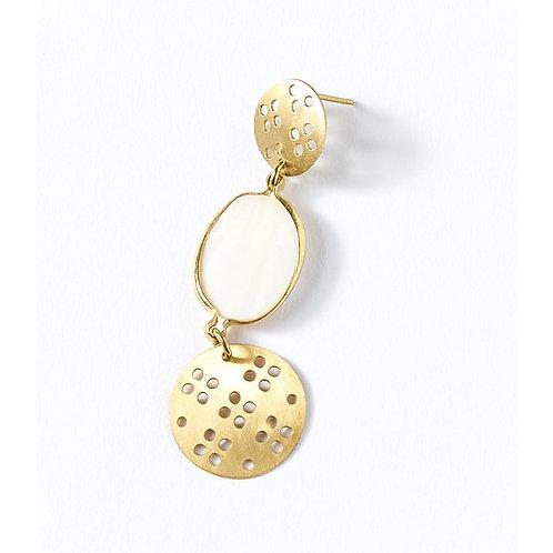 Dhavala Gold & White Drop Earrings