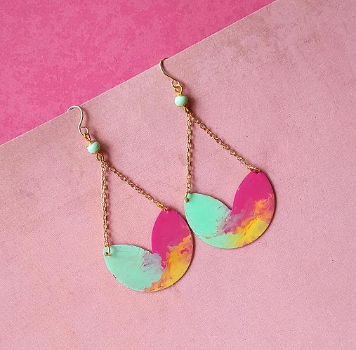 Happy Color Flow OOAK Handpainted Earrings