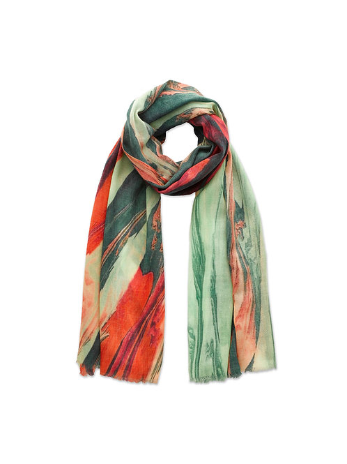 Green & Coral Pink Swirl Wool Scarf Limited Edition