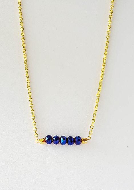 Bella Blue Bead Bar Necklace