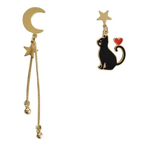 Moongazer Cat Earrings Asymmetrical Earrings