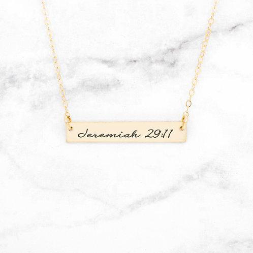 Jeremiah 29:11 Bar Necklace