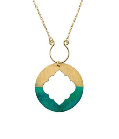 Ashram Window Necklace Teal & Gold
