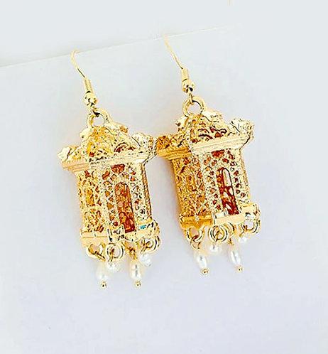 Oriental Pagoda Pearl Drop Earrings