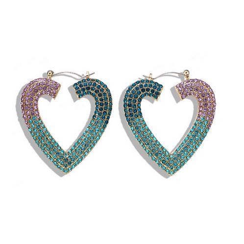 Pave' Rhinestone Heart Earrings