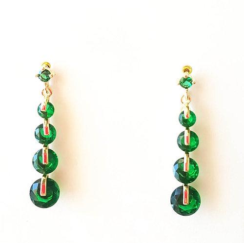 Emerald Green Cascade Crystal Earrings