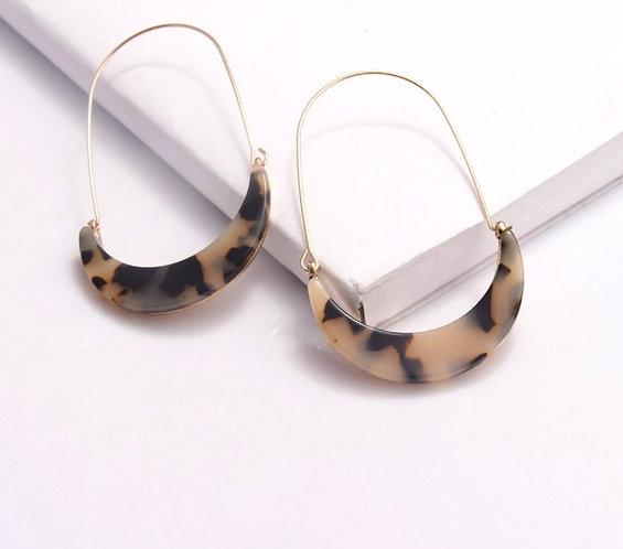 Light Tortoise Cresent Hoop Earrings