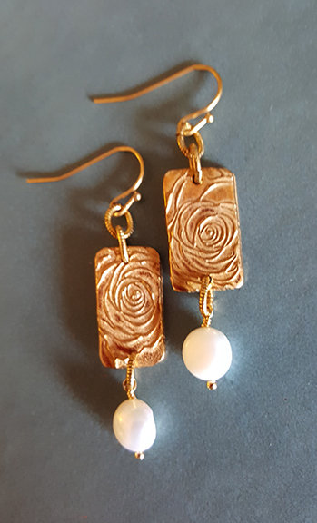 Beatrice Artisan Rose Earrings with Pearl