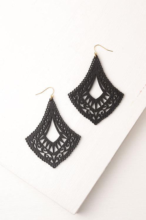 Bernadine Black Cutout Earrings