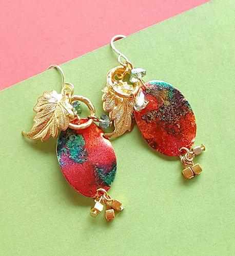 Patina Charmed Dangle OOAK Hand-painted Earrings