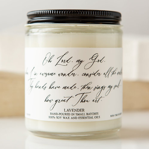 Lavender Hymn Candle- How Great Thou Art