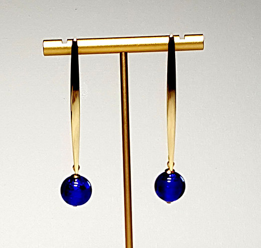 Cobalt Blue Minimalist Earrings