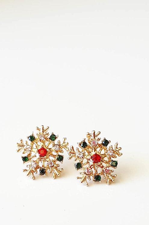 Joyeux Noel Holiday Snowflake Crystal Stud Earrings