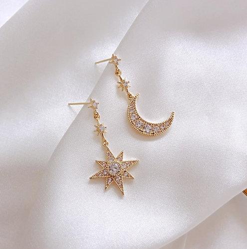 Sparkling Moon & Star Dangle Earrings