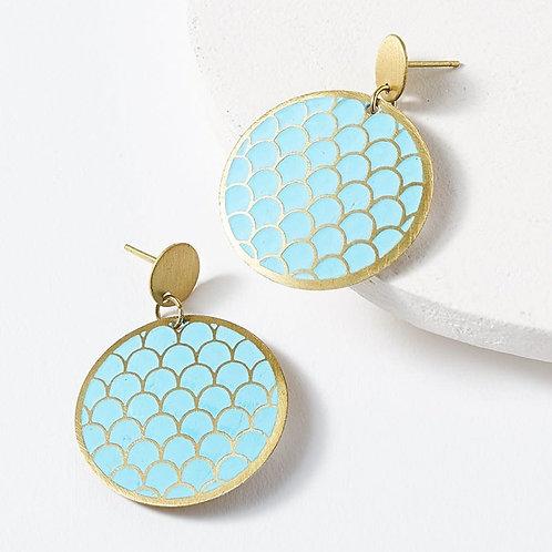 Dhavala Blue Coin Earring