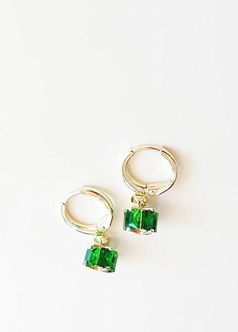 Green Crystal Cube Earrings