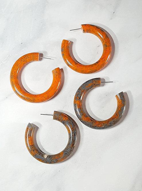 Orange & Grey Marbled Resin Hoops