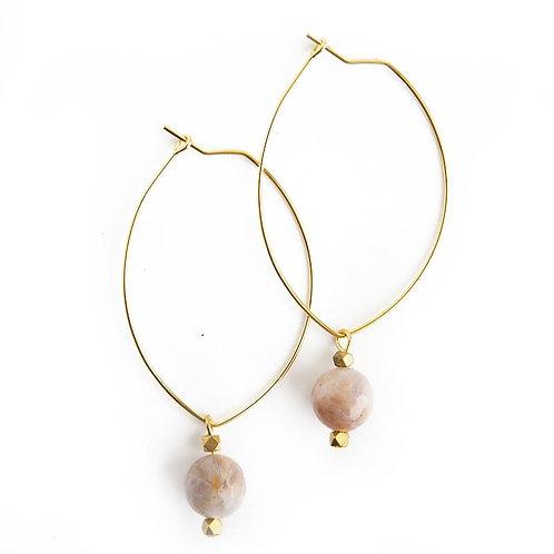 Lenny Gemstone Earrings-Rainbow Agate
