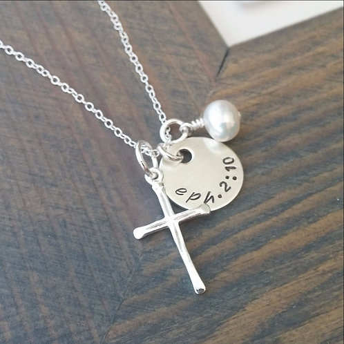 Sterling Silver Cross Necklace With Custom Bible Verse