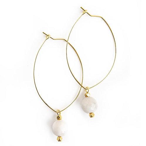 Lenny Gemstone Earrings-Gray Agate
