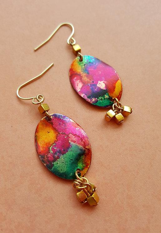 Color Flow Oval Dangle OOAK Hand-painted Earrings