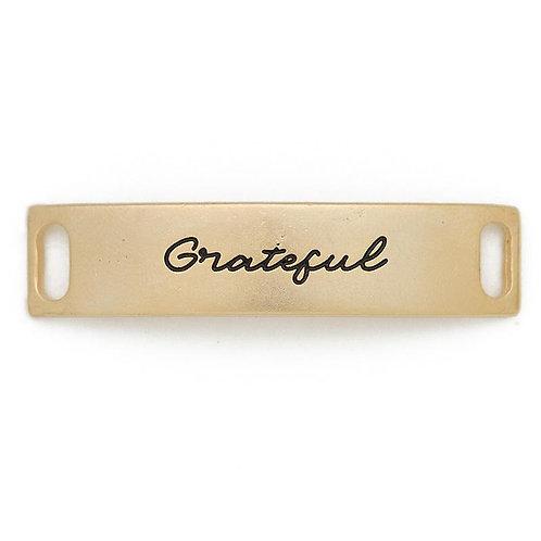 Grateful Sentiment for Leather Bracelet