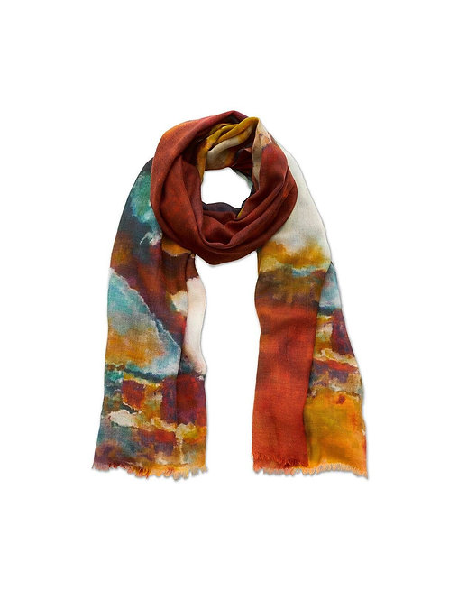 Desert Abstract Print Wool Scarf Limited Edition