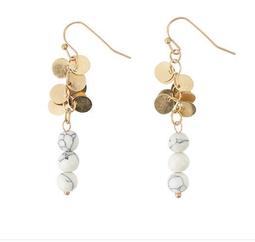 Howlite & Gold Disc Dangle Earrings