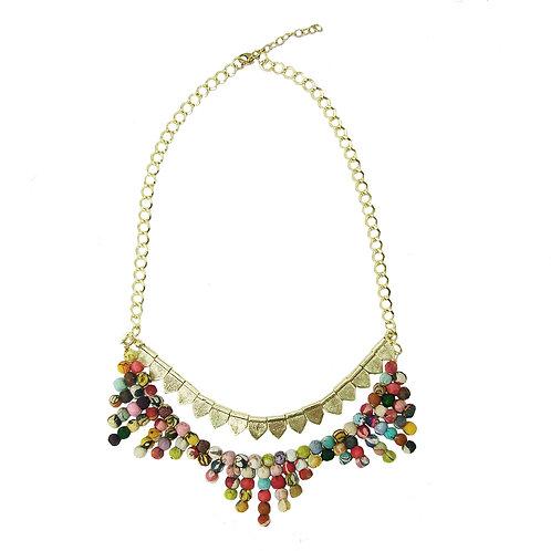 Kantha Tribal Sari Bead Necklace