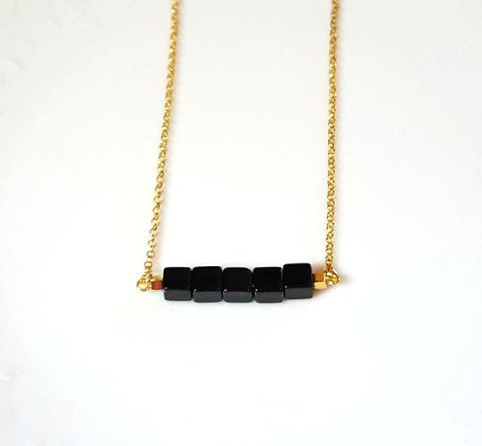 Elani Black Bead Bar Necklace by Brandyinthesky