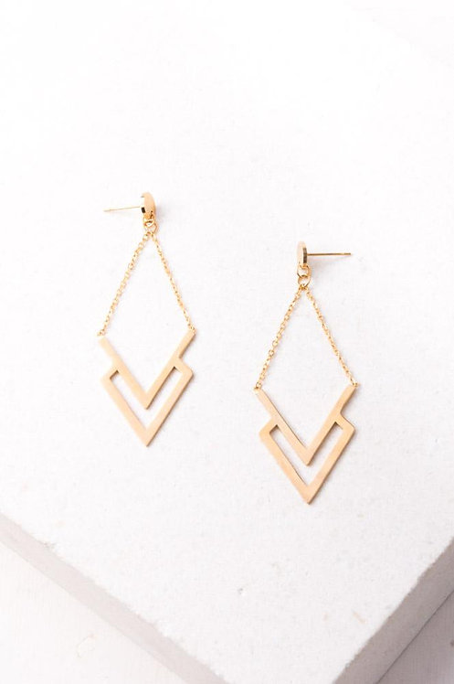 Dominique Gold Chevron Earrings