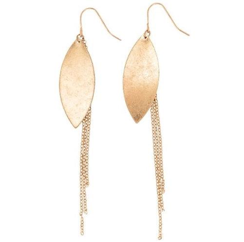 Gold Leaf & Chain Dangle Earrings