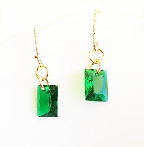 Emerald Green Crystal Drop Earrings