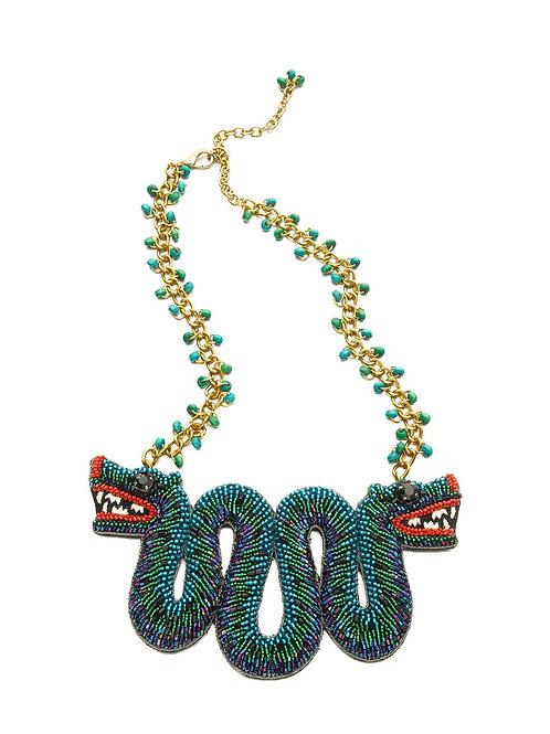 Unique Beaded Serpent Statement Necklace