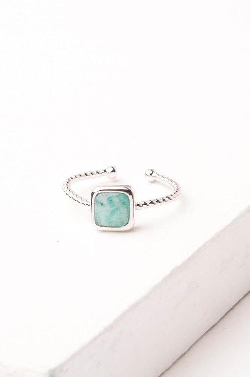 Gianna Silver & Amazonite Square Ring
