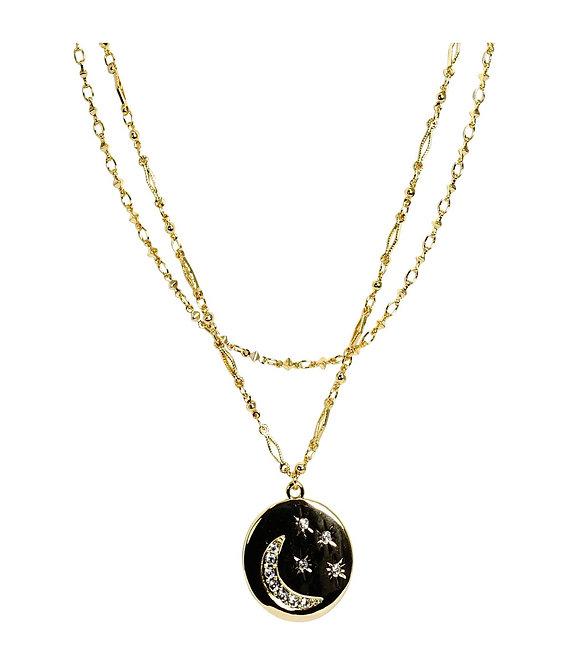 Moon & Stars Medallion Layered Necklace