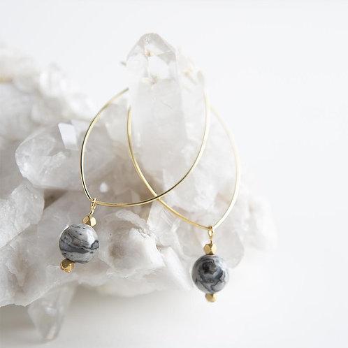 Lenny Gemstone Earrings-Picture Jasper