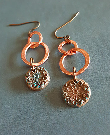 Portia Copper Links Mixed Metal Artisan Earrings