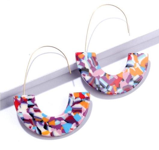 Fiesta Confetti Acrylic Hoop Earrings