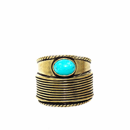 Turquoise Bohemian Brass Ring