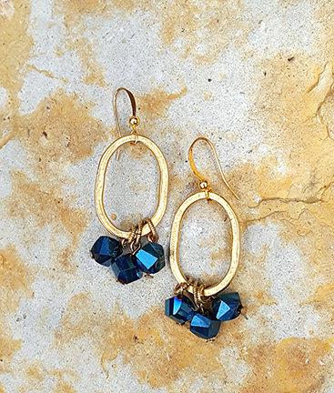 Bella Blue Oval Earrings