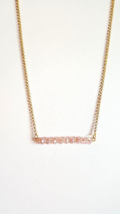 Penelope Pink Blush Bead Bar Necklace by Brandyinthesky