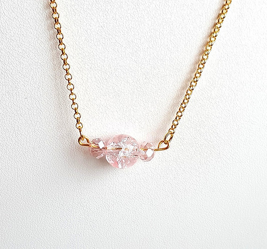 Simple Blush Pink Bead Necklace by Brandyinthesky