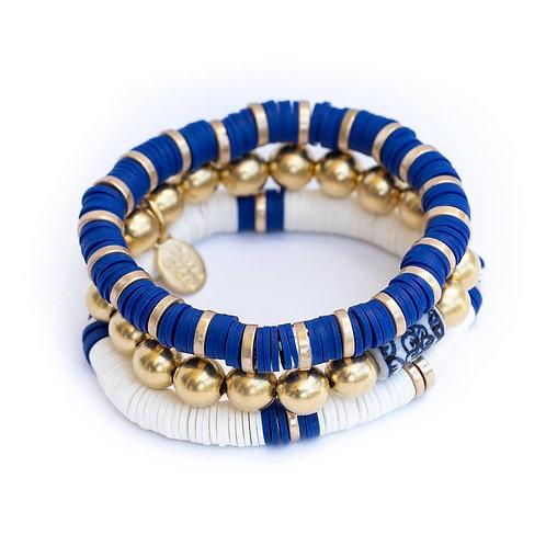 Blue & White Savannah Stack Bracelets (Set of 3)